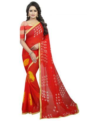 Red Color Chiffon Designer Bandhani Saree