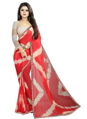 Red Color Chiffon Indian Saree