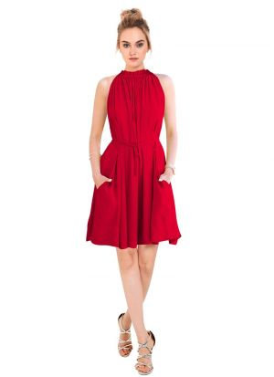 Red Color Short Frock For Ladies