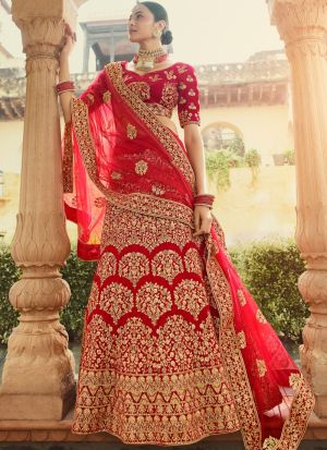 Red Color Stone Work Indian Bridal Wear Lehenga Choli
