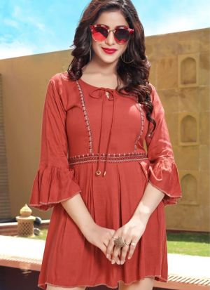Red Colour Ethnic Top With Beautiful Embroidery