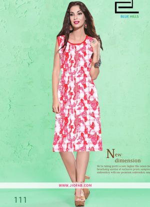 Red Cotton Fabric Stitched Summer Kurti Collection