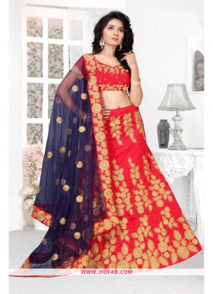 Red Designer Semi Stitched Chaniya Choli