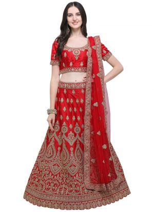 Red Designer Wedding Lehenga Choli With Silk Fabric