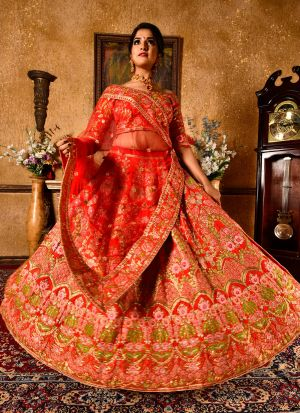 Red Designer Wedding Wear Chennai Silk Lehenga Collection