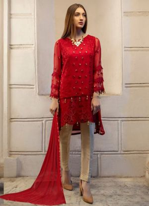 Red Georgette Embroidered Pakistani Suit
