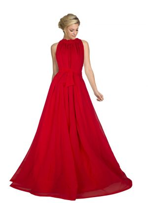 Red Georgette Sleevless Gown
