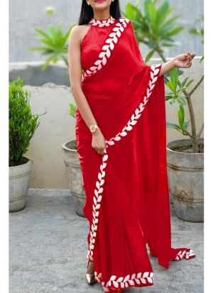 Red Heavy Embroidery Lace Border Vichitra Silk Designer Saree