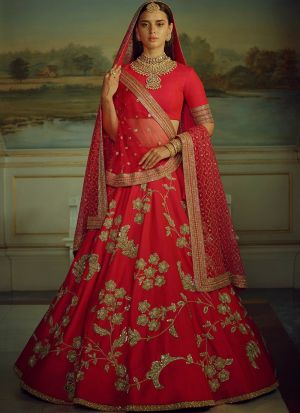Red Heavy Embroidery Malai Satin Fabric Partywear Designer Lehenga With Bridal Net Dupatta