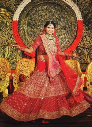 Red Kasturi Silk Designer Bridal Lehenga Choli