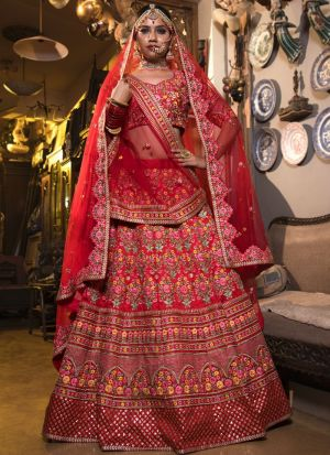 Red Mulberry Silk Bridal Lehenga Choli For Wedding