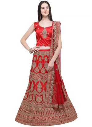 Red Naylon Satin Party Wear Lehenga Choli
