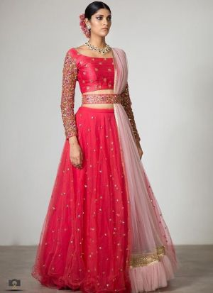 Red Net Latest Hit Design Lehenga Choli