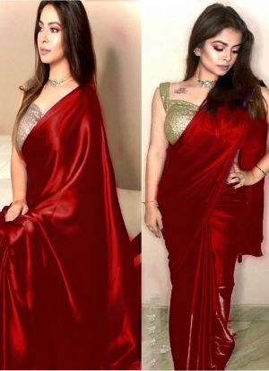 Red Party Wear Dola Silk Sequence Saree