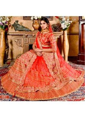 Red Pattern Silk Designer Wedding Lehenga Choli