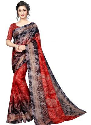 Red Printed Jute Silk Saree