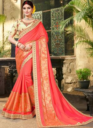 Red Pure Jacquard Stylish Designer Party Wear Fancy Saree