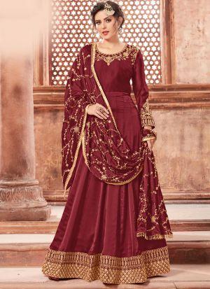 Red Satin Georgette Designer Salwar Suit Eid Special Muslim Dresses