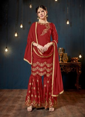 Red Satin Georgette Designer Sharara Style Salwar Suit With Heavy Work