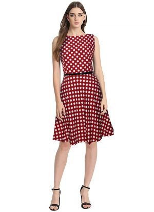 Red Short Frock For Ladies