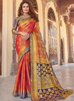 Red Silk Beutiful Wedding Saree