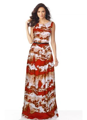 Red Sleeveless A Line Evening Gown