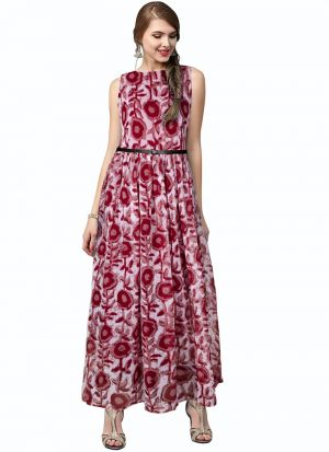 Red Sleevless One Piece Western Gown