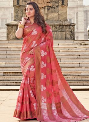 Red South Indian Cotton Handloom Designer Saree