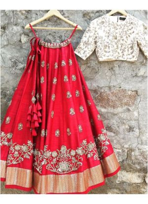 Red Taffeta Silk Traditional Hit Design Lehenga Choli