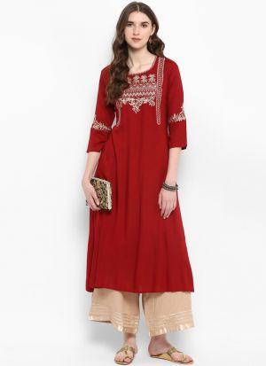 Red Viscose Rayon Party Wear Kurti