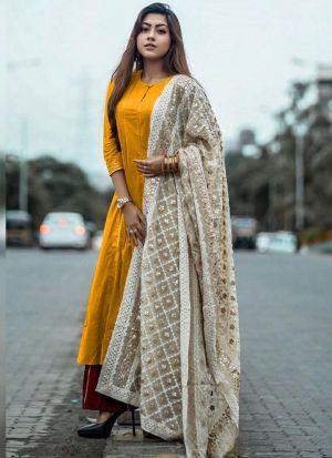Reem Shaikh Yellow Cotton Salwar Suit
