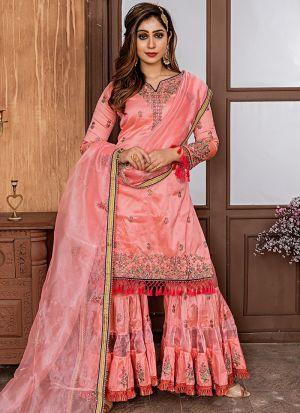 Rose Pink Zorba Sharara Style Salwar Suit