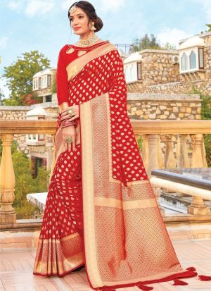 Rose Red Color Women Wedding And Partywear Pure Silk Saree
