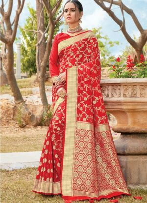 Rose Red Women Wedding And Partywear Pure Silk Saree
