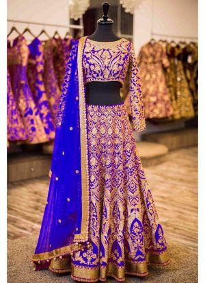 Royal Blue Banglori Silk Indian Wedding Lehenga Choli With Moss Chinon Dupatta