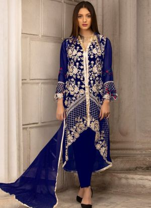 Royal Blue Georgette Embroidered Pakistani Suit
