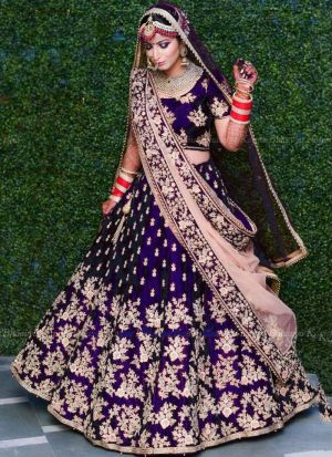 Royal Blue Velvet Silk Indian Latest Bridal Lehenga Design With Mono Net Dupatta