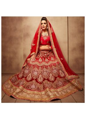 Royal Red Net Party Wear Lehenga Choli