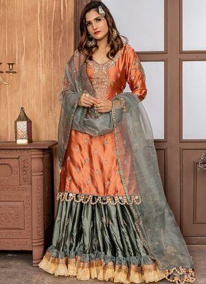 Rust Malai Satin Sharara Style Salwar Suit