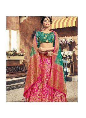1fc0e48a28d66 ... Sabyasachi Mukherjee Stylish Pink Banarasi Silk Jacquard Lehenga Choli