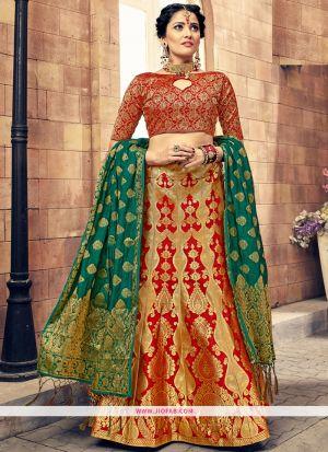 75d880766c183 ... Sabyasachi Mukherjee Stylish Red Banarasi Silk Jacquard Lehenga Choli