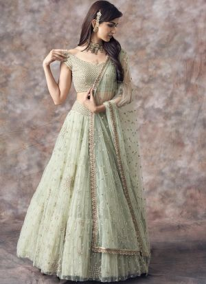 Sage Color Butterfly Mono Net Latest Design Lehenga Choli Collection