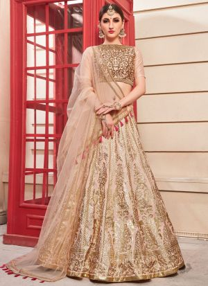 Salmon Pink Heavy Designer Lehenga Choli With Bridal Net Dupatta