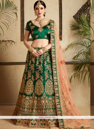 Satin Designer Wedding Wear lehenga Choli In Dark Green Color