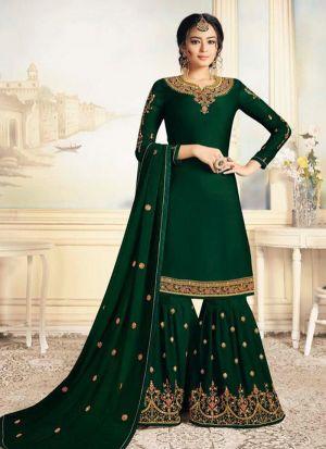 Satin Georgette Green Designer Beautiful Design Party Wear Latest Salwar Suit Eid Collection