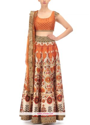 Satin Indian Lehenga Choli For Diwali Celebration In Multi Color Color