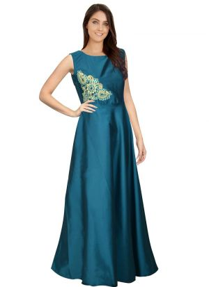 Sea Green Sleevless One Piece Western Gown