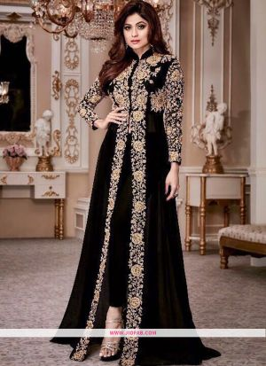 Shamita Gold 8001 Black Georgette Designer Anarkali Salwar Suit For Weddings