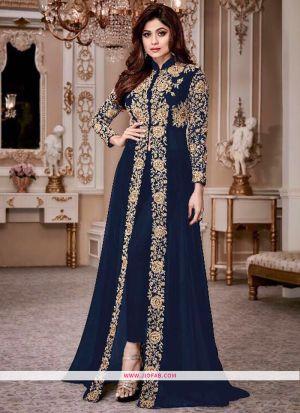 Shamita Gold 8001 Navy Georgette Latest Designer Partywear Salwar Suit