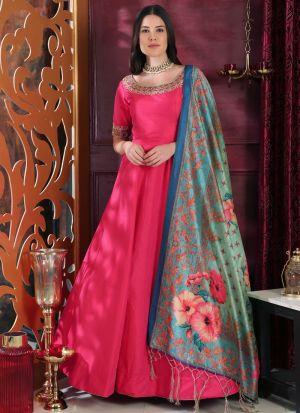 Silk Dark Pink Designer Gown